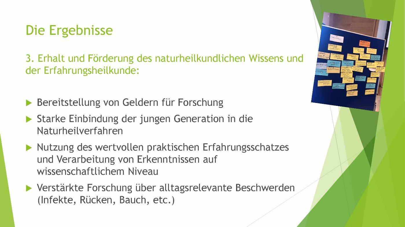 Symposium Hippokrates 2.0 Ergebnisse 3 - Erhalt und Förderung des naturheilkundlichen Wissens und der Erfahrungsheilkunde